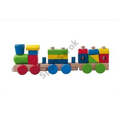 Kis színes építős vonat WOODY 90827 - SportSarok